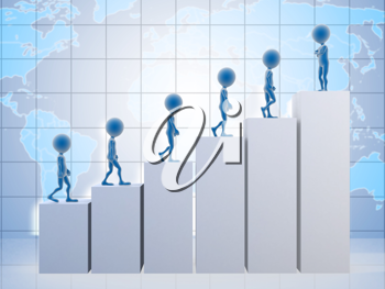 Royalty Free Clipart Image of People Climbing a Graph