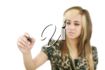 Young woman business hand with pen mark the check boxes. Hands on focus