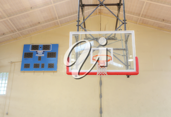 Basketball hoop cage with score table