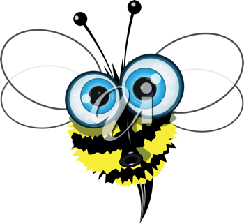 Royalty Free Clipart Image of a  Cartoon Bee