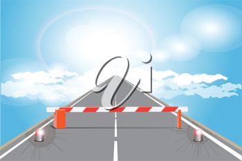 Royalty Free Clipart Image of a Barrier on a Road