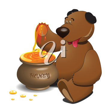 Royalty Free Clipart Image of a Bear With a Pot of Honey