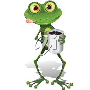 Royalty Free Clipart Image of a Frog Drinking Coffee