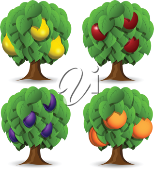 Royalty Free Clipart Image of Four Fruit Trees
