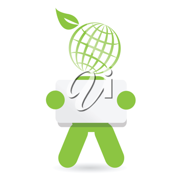 Royalty Free Clipart Image of a Green Person Holding a Sign