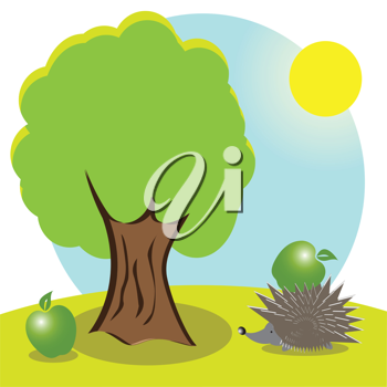 Royalty Free Clipart Image of a Hedgehog Under a Tree