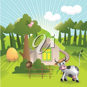 Royalty Free Clipart Image of a Farmhouse and Cow
