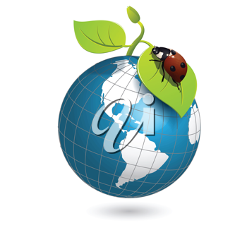 Royalty Free Clipart Image of a Globe and Ladybug