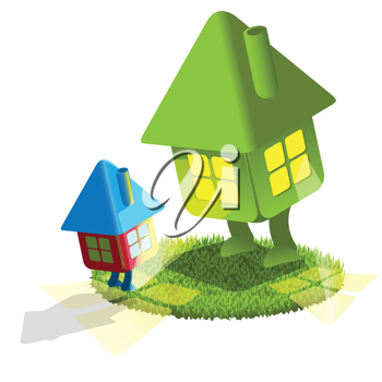 Royalty Free Clipart Image of Two Houses