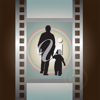 Royalty Free Clipart Image of People on Film