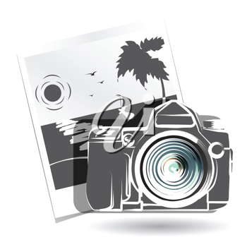 Royalty Free Clipart Image of a Camera and Photo