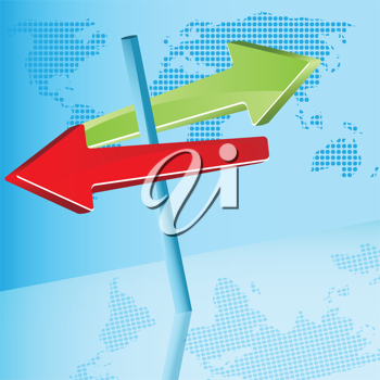 Royalty Free Clipart Image of a Signpost With Arrows