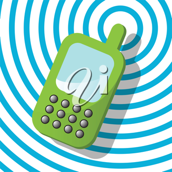 Royalty Free Clipart Image of a Green Cellphone