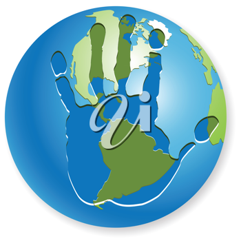 Royalty Free Clipart Image of a Handprint on a Globe