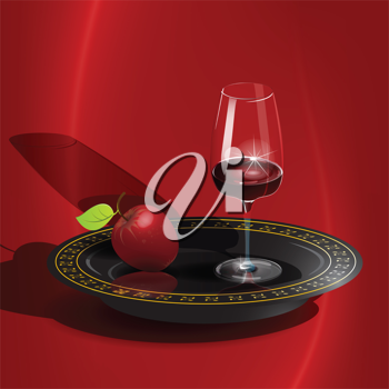 Royalty Free Clipart Image of a Glass of Wine and an Apple