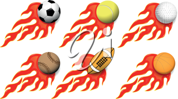 illustration of various sports balls on fire