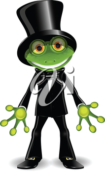 Royalty Free Clipart Image of a Frog in a Top Hat and Tuxedo