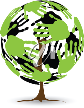Royalty Free Clipart Image of Hands on a Circle Tree