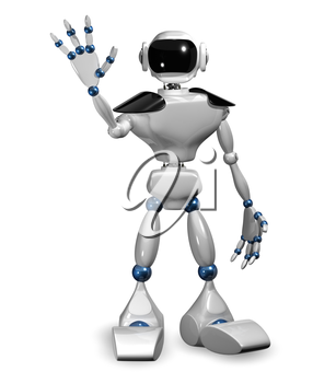 3d illustration of a white robot on white background