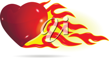 Illustration symbolic red heart on fire on a white background