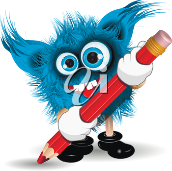 Illustration fairy shaggy blue monster with a Pencil
