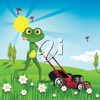 Illustration green frog with a lawn mower