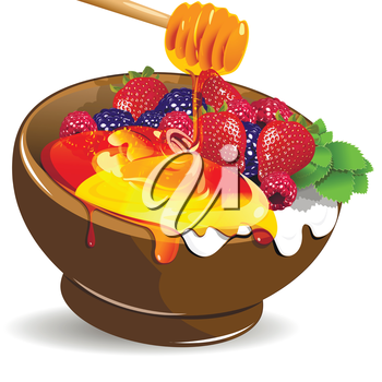 Illustration berries yogurt and honey in the cup