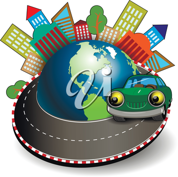 Illustration of a green car is traveling around the globe