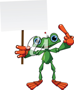 Stock Illustration Frog Robot with Poster on a White Background