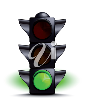 Royalty Free Clipart Image of a Green Traffic Light