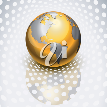 Royalty Free Clipart Image of a Golden Globe