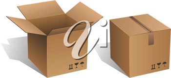 Royalty Free Clipart Image of Two Cardboard Boxes