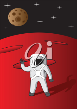 Royalty Free Clipart Image of an Astronaut on Mars