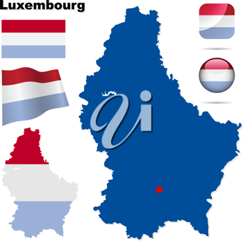 Royalty Free Clipart Image of the Flag and Maps of Luxembourg