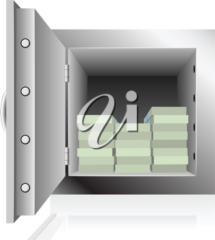 Royalty Free Clipart Image of a Safe Full of Money