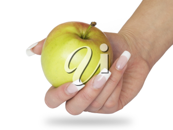 Woman's hand holding a green and red apple