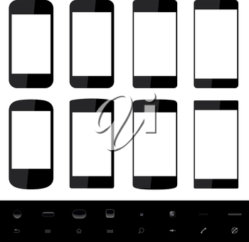 Set of smartphone shapes with blank screen and control elements at the bottom.