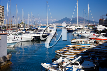 View of a beautiful marina in Mergellina zone, Naples, Italy