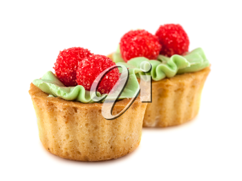 Pair of cakes basket with cream isolated on white background