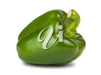 Single green sweet pepper isolated on white background