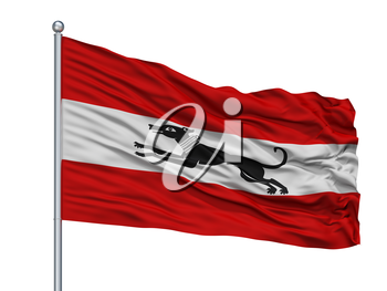 Damme City Flag On Flagpole, Country Belgium, Isolated On White Background, 3D Rendering