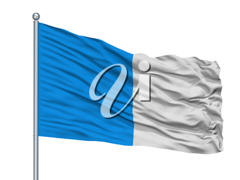Dinant City Flag On Flagpole, Country Belgium, Isolated On White Background, 3D Rendering