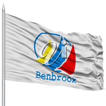 Benbrook City Flag on Flagpole, Texas State, Flying in the Wind, Isolated on White Background