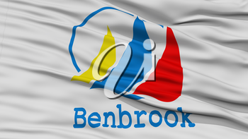 Closeup of Benbrook City Flag, Waving in the Wind, Texas State, United States of America