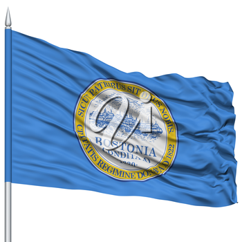Boston Flag on Flagpole, Capital of Massachusetts State, Flying in the Wind, Isolated on White Background