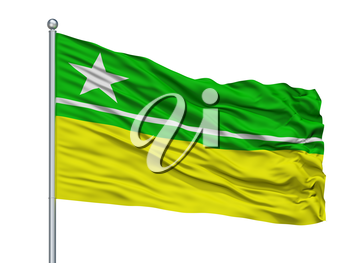 Boa Vista City Flag On Flagpole, Country Brasil, Roraima, Isolated On White Background, 3D Rendering