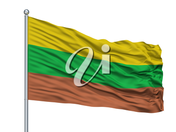 Pinchote City Flag On Flagpole, Country Colombia, Santander Department, Isolated On White Background, 3D Rendering