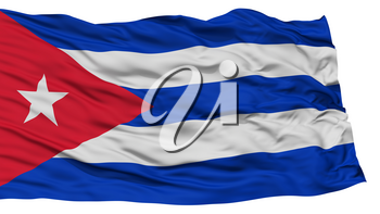 Isolated Cuba Flag, Waving on White Background, High Resolution
