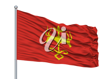 Kurgan City Flag On Flagpole, Country Russia, Isolated On White Background