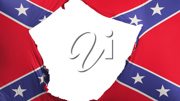 Cracked Confederate flag, white background, 3d rendering